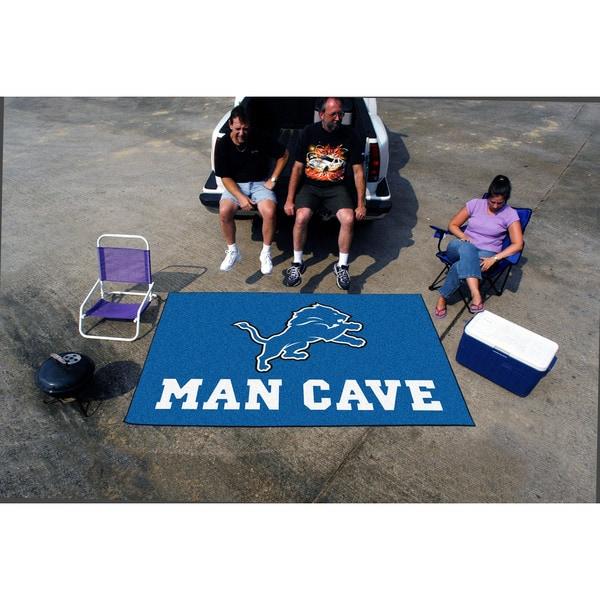Fanmats Machine-made Detroit Lions Blue Nylon Man Cave Ulti-Mat (5' x 8')
