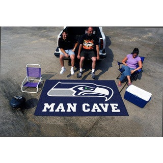 Fanmats Machine-made Seattle Seahawks Blue Nylon Man Cave Ulti-Mat (5' x 8')