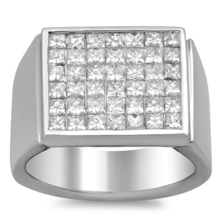 18k White Gold Men's 2 3/5 ct TDW Diamond Ring (E-F, VS1-VS2)