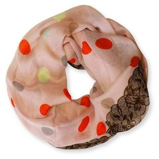 Peach Couture Pink Multi Polka Dot Lace Print Infinity Scarf