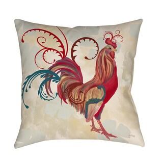 Thumbprintz Teal Rooster I Decorative Throw Pillow