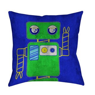 Thumbprintz Neon Party Blue Robot Decorative Pillow