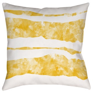 Thumbprintz Summer Florals Yellow Stripe Indoor/ Outdoor Pillow