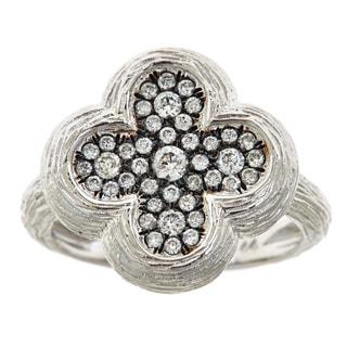 14k White Gold Diamond Textured 4-leaf Clover Ring