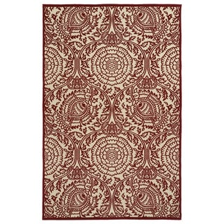 "Indoor/Outdoor Luka Red Zen Rug (2'1 x 4'0) - 2'1"" x 4'"