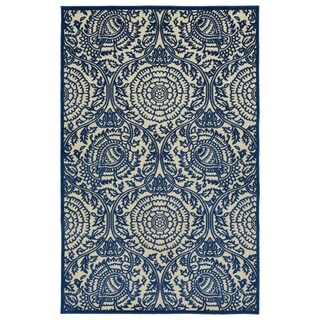 "Indoor/Outdoor Luka Navy Zen Rug (2'1 x 4'0) - 2'1"" x 4'"