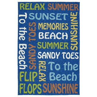 Indoor/Outdoor Handmade Getaway Navy Summer Rug (9'0 x 12'0)