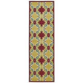 Indoor/Outdoor Luka Red Damask Rug (2'6 x 7'10)