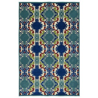 Indoor/Outdoor Luka Navy Damask Rug (8'8 x 12'0)