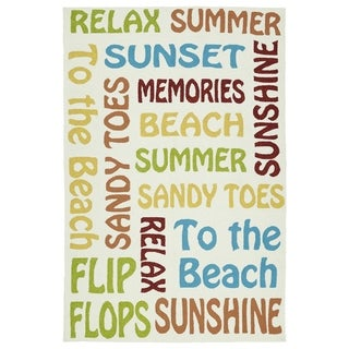 Indoor/Outdoor Handmade Getaway Summer Text Rug (5'0 x 7'6)