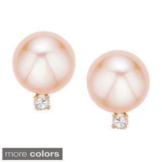 Pearlyta 14k Yellow Gold Freshwater Pearl and Cubic Zirconia Stud Earrings (8-9mm)
