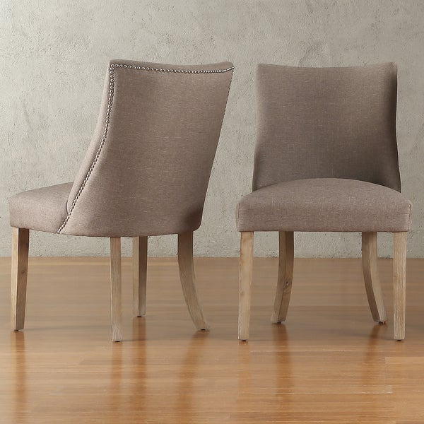 hills abbott nailhead curved back upholstered dining chairs set of 2