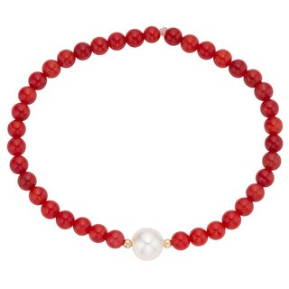 Pearlyta 14k Gold Coral and Freshater Pearl Kids Bracelet (4-6 mm)