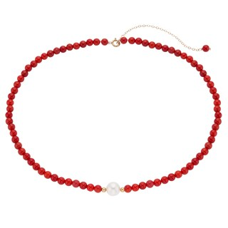 Pearlyta 14k Gold Coral and White Pearl Kids Necklace (4-6mm)