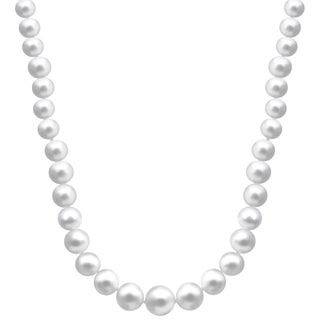 14k Yellow Gold White Graduated Freshwater Pearl 18-inch Necklace (7-11 mm)