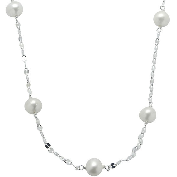 Sterling Silver Freshwater Pearl Mirror Chain Station 18-inch Necklace (7-8 mm)