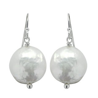 Sterling Silver White Freshwater Coin Pearl Earrings (12-13 mm)