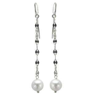 Sterling Silver White Freshwater Pearl Mirror Chain Dangle Earrings (7-8 mm)