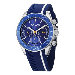 SO&CO New York Men's Monticello Quarz Day and Date Tachymeter Rubber Strap Watch