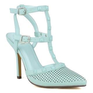 Fahrenheit Women's Ula-03 High Heel Pointed-Toe Buckle T-Strap Fashion D'Orsay Pumps