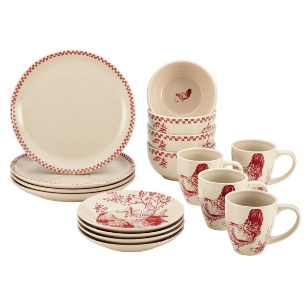 BonJour Dinnerware Chanticleer Country Burgundy Red Stoneware 16-piece Set