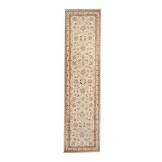 Herat Oriental Afghan Hand-knotted Vegetable Dye Oushak Ivory/ Red Wool Rug (2'6 x 9'10)