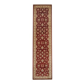 Herat Oriental Afghan Hand-knotted Vegetable Dye Oushak Red/ Ivory Wool Rug (2'5 x 9'8)