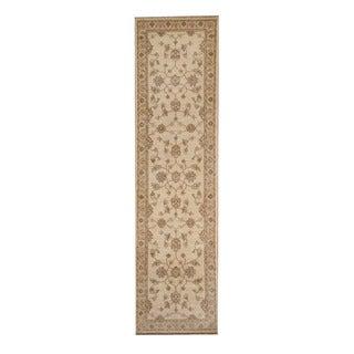 Herat Oriental Afghan Hand-knotted Vegetable Dye Oushak Ivory/ Beige Wool Rug (2'7 x 9'8)