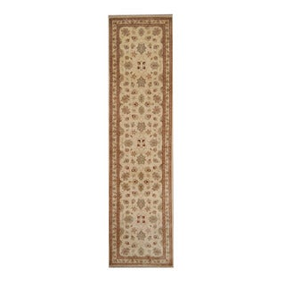 Herat Oriental Afghan Hand-knotted Vegetable Dye Oushak Ivory/ Red Wool Rug (2'7 x 9'10)
