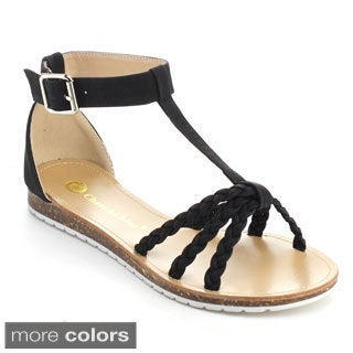 Chase & Chloe YURI-2 Women's Ankle T-Strap Metal Buckle Sandals