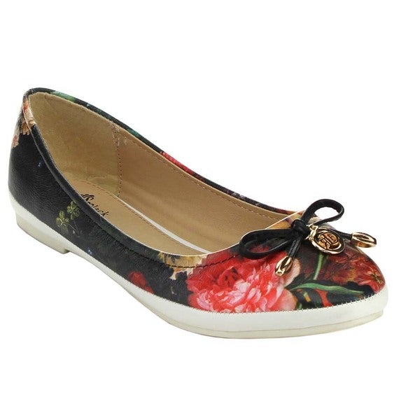 Black Swan MAIZE-4 Women's Bows Floral Pattern Slip-On Flats