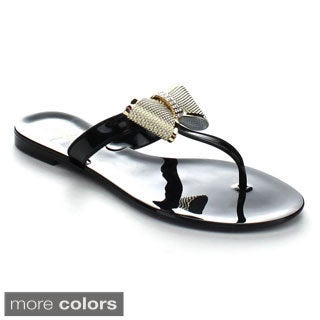 Soda Glade Women's Rhinestone Tux Bow Tie Jelly Flat Sandals