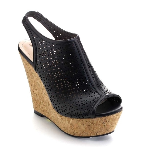 De Blossom Collection VICCY-5 Women Sling Back Platform Wedges