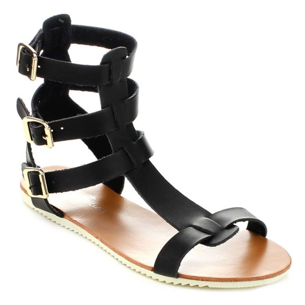 Fashion Focus Judy-5 Women's T-Strap Adjustable Gladiator Sandals