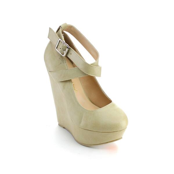 Chase & Chloe Orlando-1Women's Metal Buckle Strappy Wedges