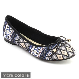 Chase & Chloe MIA-1 Women's Exotic Style Metal Detailed Bowtie Ballet Flats