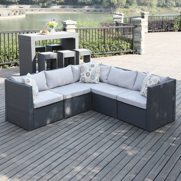 Portfolio Aldrich Grey Indoor Outdoor 5 piece Sectional Set Over