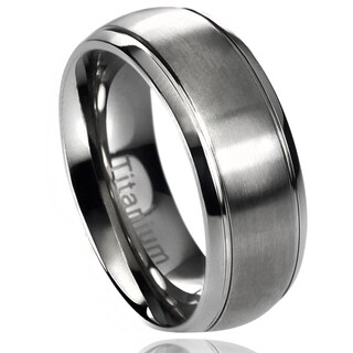 Territory Titanium Brushed Center Grooved Edge Band