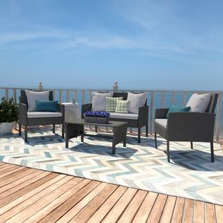 Portfolio Aldrich Grey 4-piece Wicker Indoor/Outdoor Seating Grouping