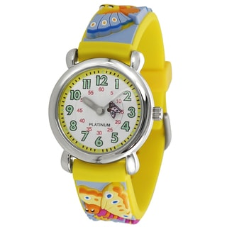 Geneva Platinum Kid's Butterfly Design Silicone Band Watch