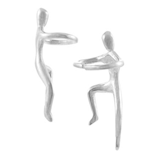 Journee Collection Sterling Silver Climbing Man Earrings