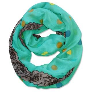 Peach Couture Multi Polka-dot Circle and Lace Print Infinity Loop Scarf (Aqua)