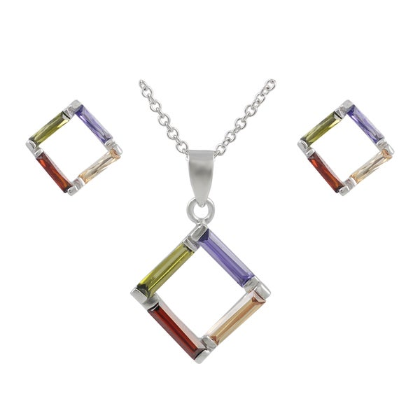 Journee Collection Sterling Silver Cubic Zirconia Square Pendant and Earring Set