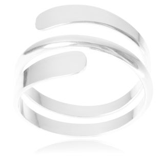 Journee Collection Sterling Silver Handmade Modern Wrap Ring