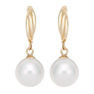 Pearlyta 14k Yellow Gold Round Freshwater Pearl Twisted Half Hoop Dangle Earrings (8-8.5mm)