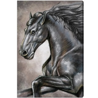 Oliver Gal 'Gray Horse' Animals Wall Art Canvas Print - Gray, Brown