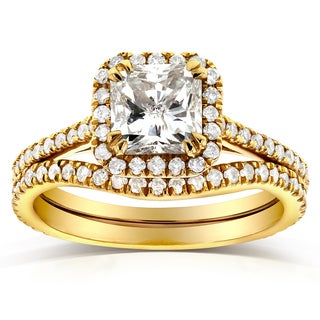 Annello 14k Yellow Gold 1 1/2ct TDW Radiant-cut Halo Diamond Bridal Rings Set (G-H, I1-I2)