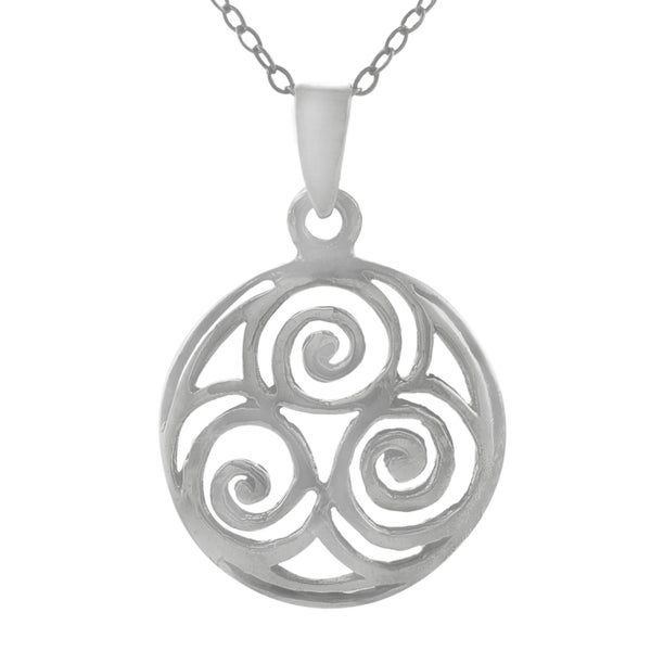 Journee Collection Sterling Silver Round Triple Celtic Spiral Pendant