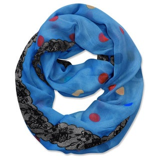 Peach Couture Multi Polka Dot Circle and Lace Print Infinity Loop Scarf (Blue)