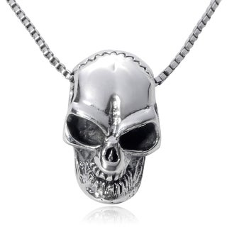 Journee Collection Sterling Silver Skull Pendant